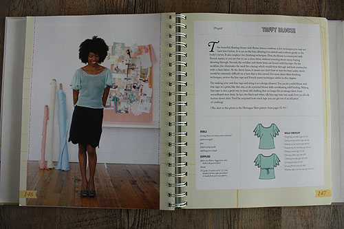 Colette Sewing Handbook, page showing a model wearing a flutter sleeve top