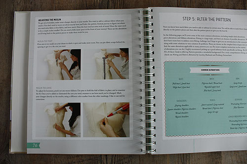 Colette Sewing Handbook, page showing draping on a form