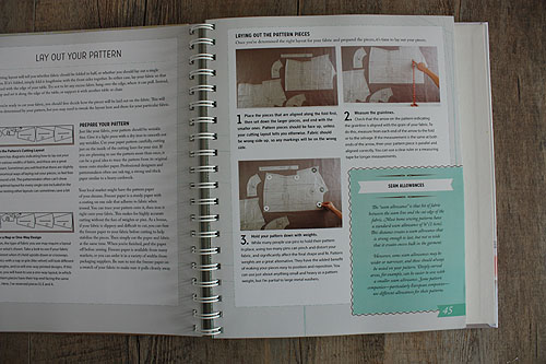Colette Sewing Handbook, page showing how to lay out a pattern on a table top