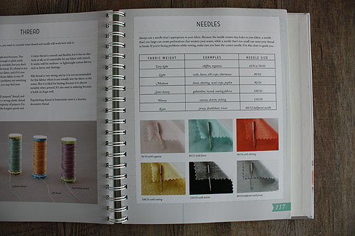 Colette Sewing Handbook, page showing needle and thread types