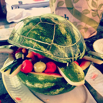 turtle carved out of a watermelon