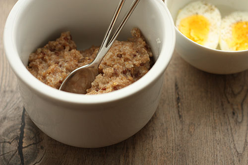 emmer, rye and flax seed hot cereal