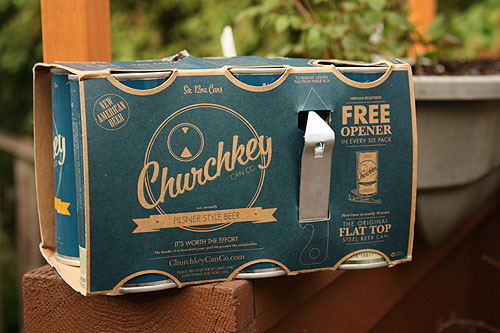 the Churchkey beer box with a churchkey opener