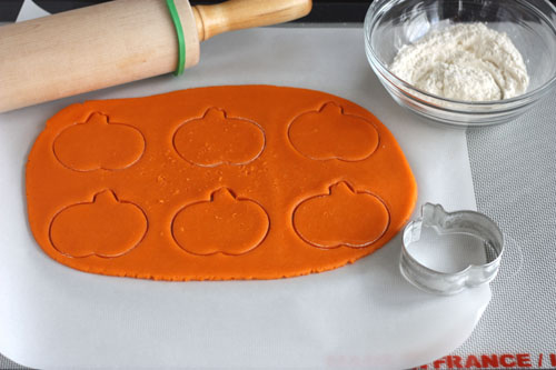 Trick-or-Treat Cookies, with a surprise inside. Roll and cut first half of dough.