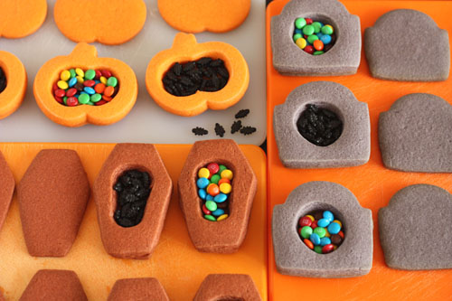 Trick-or-Treat Cookies, with a surprise inside. Filling different shapes of cookies.