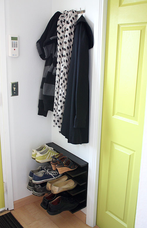 Not martha diy shoe rack for a tight space - Shoe storage ideas small space image ...