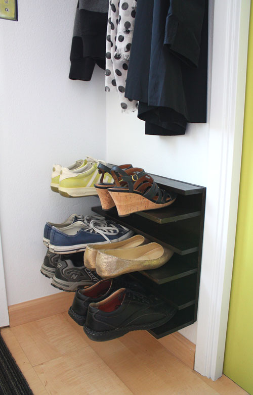 Not martha diy shoe rack for a tight space - Shoe rack for small spaces image ...