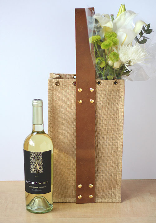 diy wine tote with leather handle