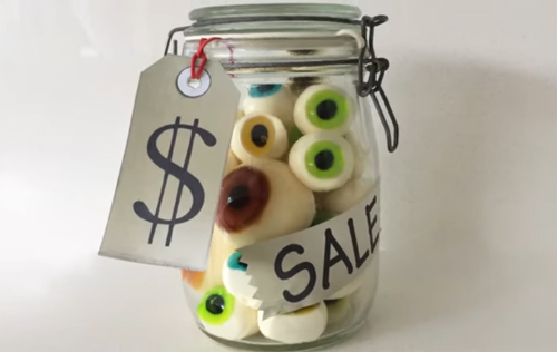 a jar of gelatin eyeballs