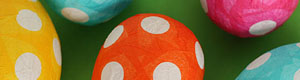 [papier-mache polka dot easter eggs]