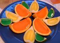 jello fruit on a plate