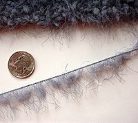 detail of yarn with a quarter for scale